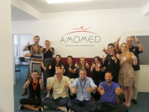 group photo AMOMED Pharma Vienna Austria